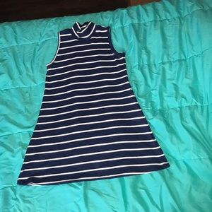 Soulmates navy and white striped turtle neck dress